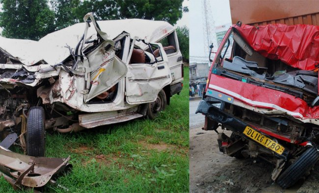 The damaged dumper and jeep after an accident on NH-8 at Bilaspur ....