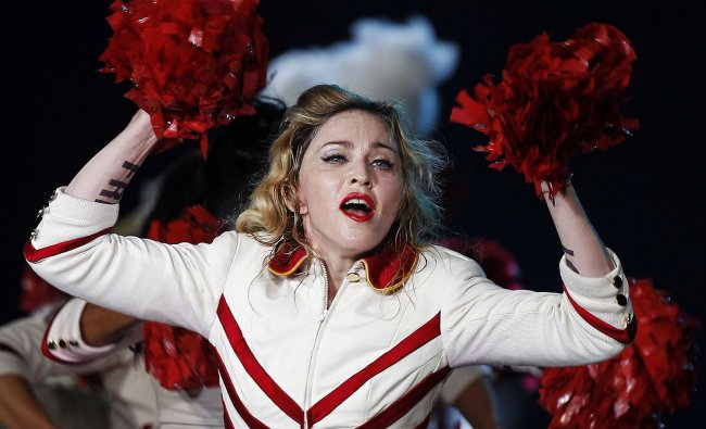 U.S. pop singer Madonna performs during her last European concert as part of her MDNA world tour