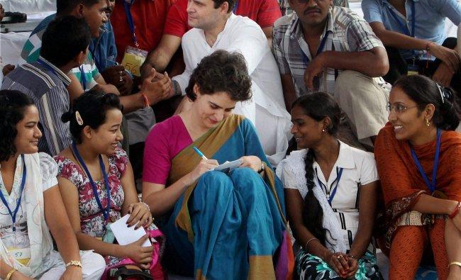 Congress General Secretary Rahul Gandhi and Priyanka Vadra interacting with disabled persons...