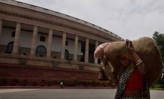 A woman labourer at Parliament house in New Delhi