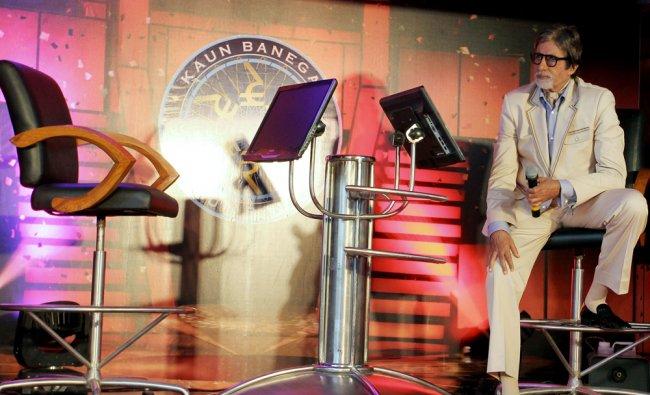 Amitabh Bachchan poses during the unveiling of Television reality show \'Kaun Banega crorepati\'