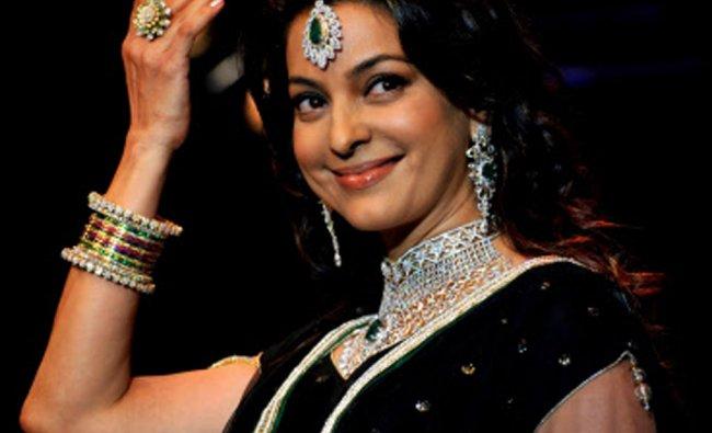 Indian Bollywood film actress Juhi Chawla showcases jewellery designer Kays Jewels creations ...