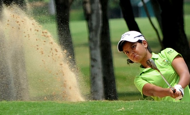 Vani Kapoor in action on the second day of the Hero KGA Women\'s Professional Golf Championships...
