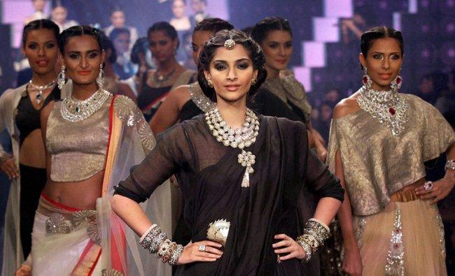 Sonam Kapoor strikes a pose during India International Jewellery...
