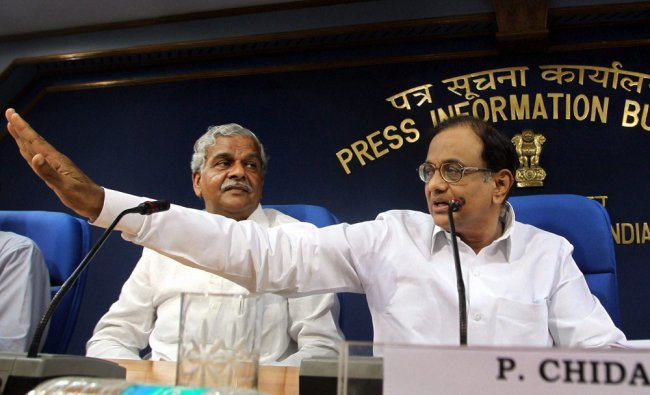 Union Finance Minister P Chidambaram addressing a press conference