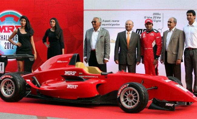 Formula one driver Narain Karthikeyan and others at the launch of MRF FORMULA 2000....