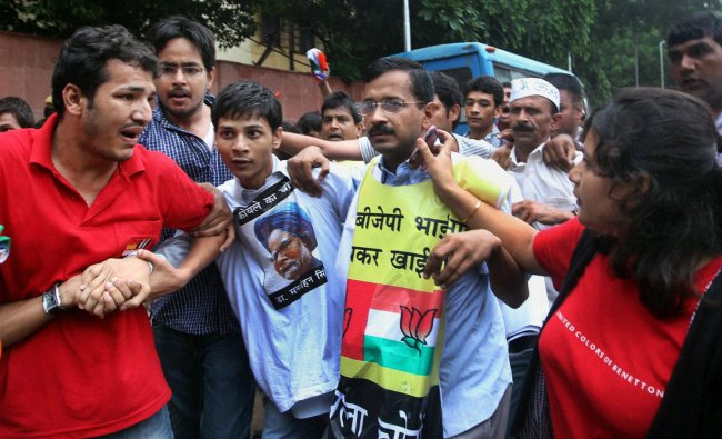 Arvind Kejriwal on his way to Jantar Mantar after being released from the Mandir Marg police station