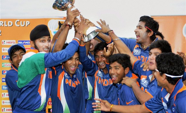 Indian cricket team celebrates with the trophy after winning the U19 cricket World Cup ...