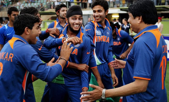 Indian players celebrate after winning the U19 Cricket World Cup at Townsville, Australia on Sunday.