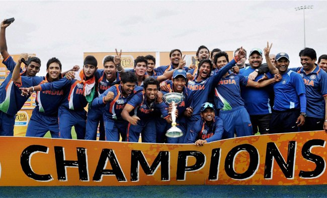 Indian cricket team celebrates with the trophy after winning the U19 cricket World Cup...
