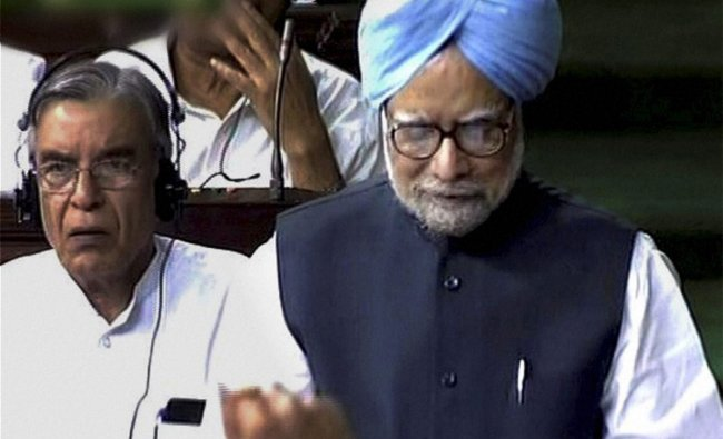 Manmohan Singh making a statement on coal block allocation issue in Lok Sabha in New Delhi