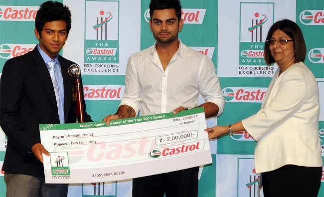 Unmukth Chand and Virat Kohli during the \'Castrol Awards For Cricketing Excellence- 2012...