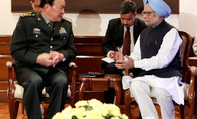 Prime Minister Manmohan Singh with Chinese Defence Minister Gen Liang Guanglie...