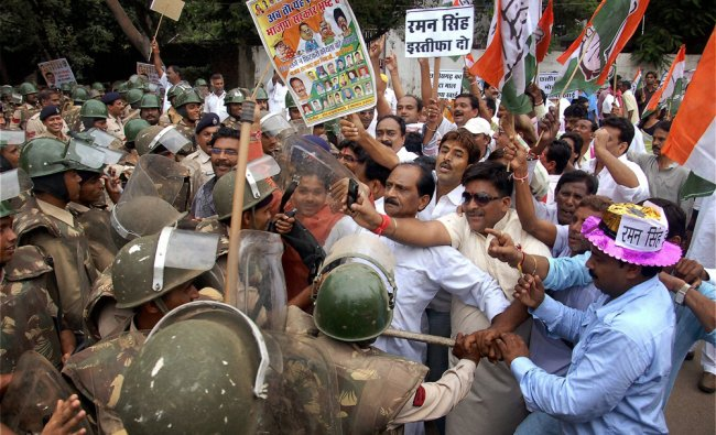 Congress activists were being arrested during their protest near state Chief Minister\'s house...