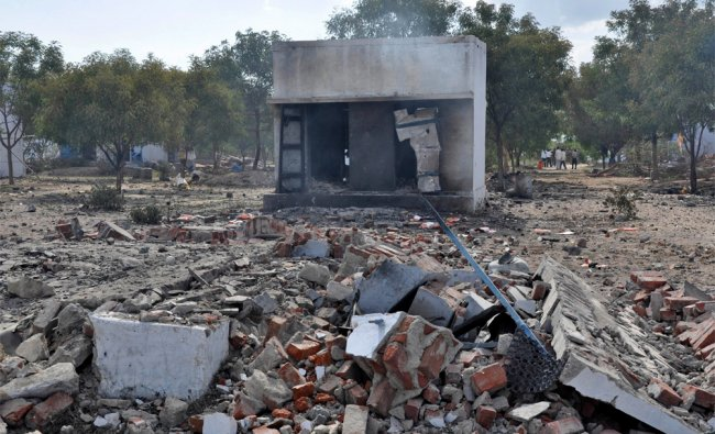 Remains of a fireworks factory in Sivakasi after it caught fire on Wednesday...