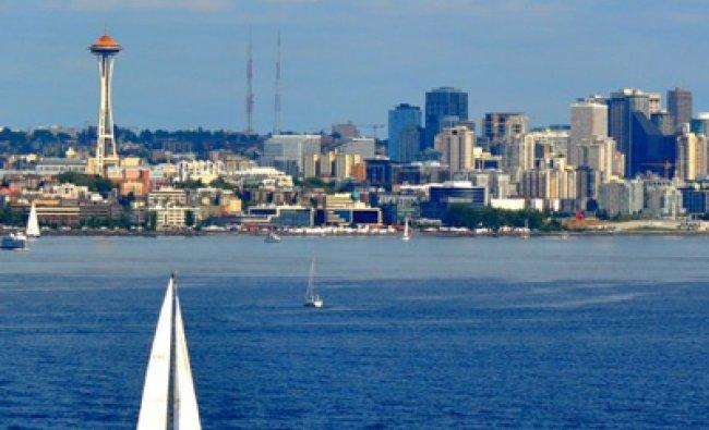 Seattle, WA skyline taken from the harbor