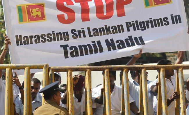 Sri Lankan Tamil community shout slogans against the Tamil Nadu attack on Sri Lankan pilgrims...