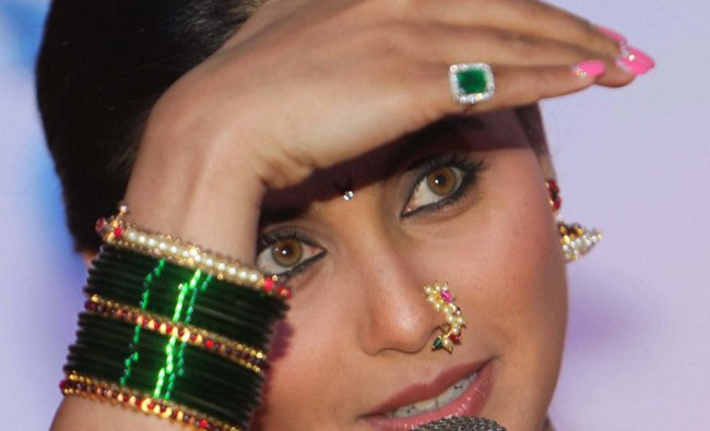 Rani Mukherjee interacts with the media during the unveiling of the first look of her film \'Aiyya\'..