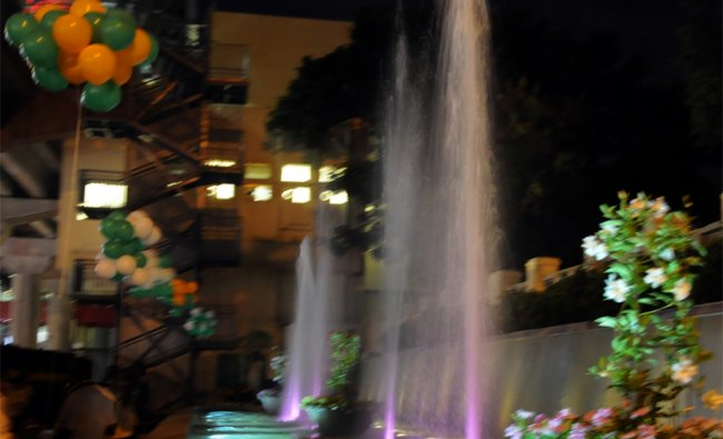 Water fountain Urban Square at MG Road Metro station is opened public in Bangalore on Wednesday..