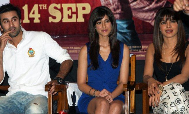 :Actors Ranbir Kapoor,Ileana D\'cruz and Priyanka Chopra during a promotional event to promote ...