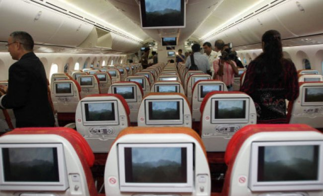 A view of the interiors of Dreamliner, the first Boeing 787 plane