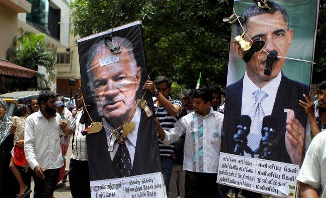 Activists of Tamil Nadu Thowheed Jamath (TNTJ) during a protest against an anti-Islam film