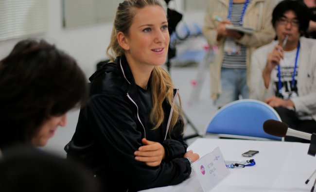 Victoria Azarenka, speaks during a press conference at the Japan Pan Pacific Open tennis tournament