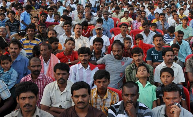 People are seen at JD (S) Dasarahalli constituency convention in Bangalore on Sunday...