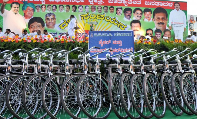 BBMP Cycles are seen for distributing at JD(S) Dasarahalli constituency convention in Bangalore...