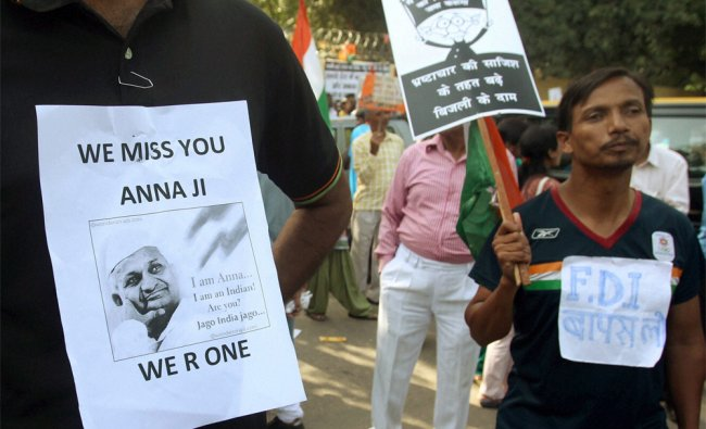 India Against Corruption activists protest against power tariff hikes at Jantar Mantar...