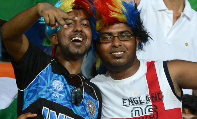India d England cricket fans cheer during the ICC Twenty20 Cricket World Cup match...