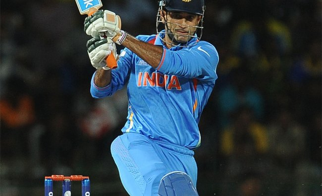 Irfan Pathan plays a shot against England...