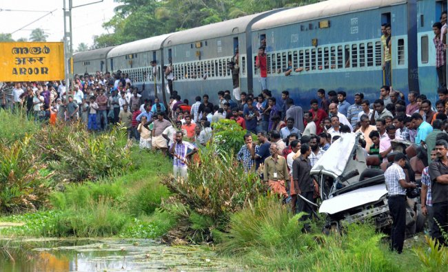 Five people were killed when their car was hit by a train at an unmanned level crossing in Kerala...