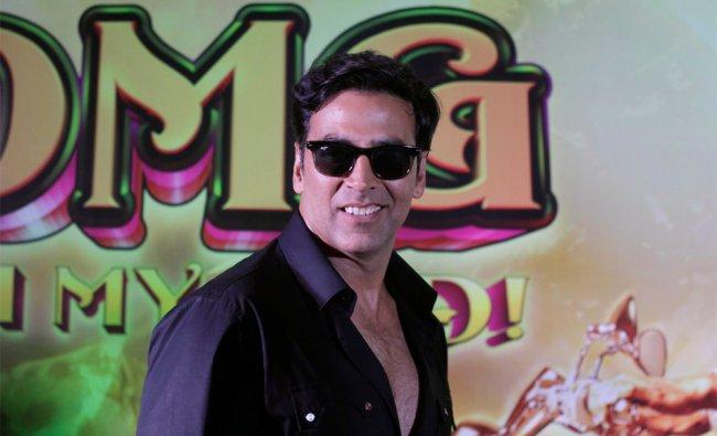Bollywood actor Akshay Kumar poses at a press conference to promote his upcoming movie...
