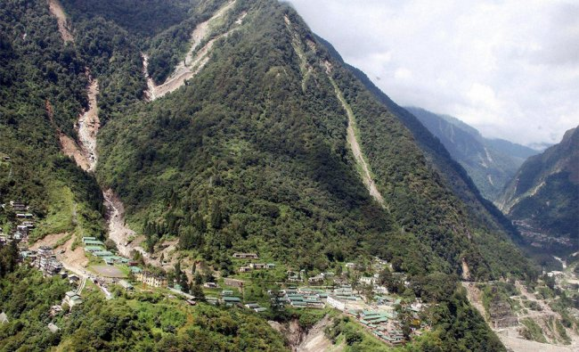 An aerial view of the damaged roads by flash flood and landslides in North Sikkim...