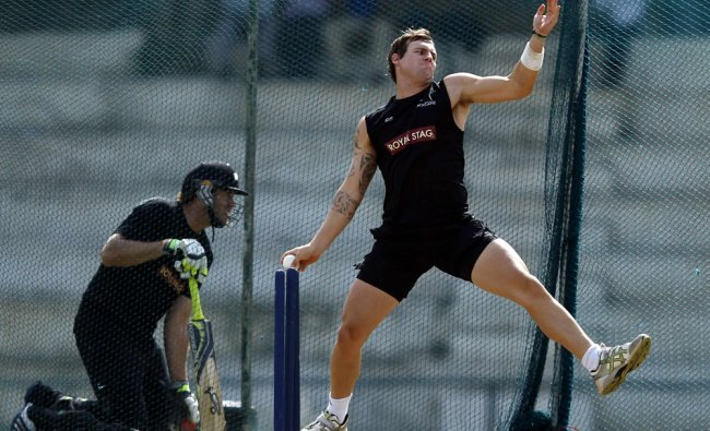 New Zealand\'s Doug Bracewell bowls during a practice session