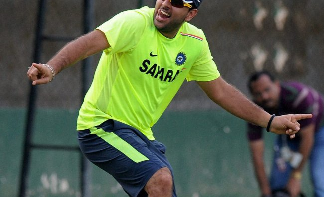 uvraj Singh dances during the practice session in Colombo