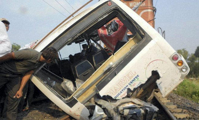 A view of damaged vehicle after many persons were killed and several injured