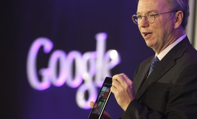 Eric Shcmidt shows the Nexus 7 tablet during a press conference