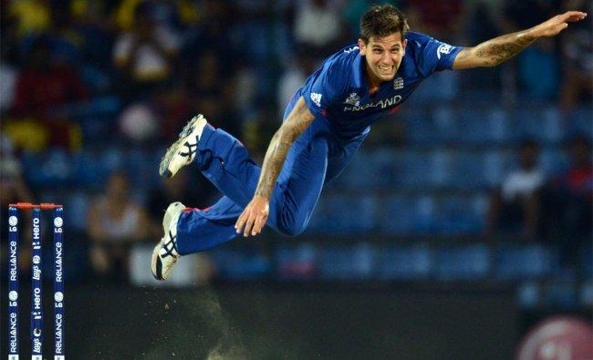 England\'s Jade Dernbach bowls against the West Indies...