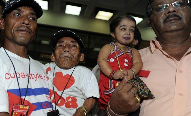 World\'s shortest man, Nepalese Chandra Bahadur Dangi poses with Jyoti Amge world\'s shortest woman...