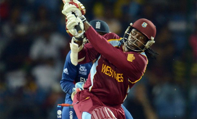 West Indies\' Chris Gayle hits out during the Twenty20 World Cup Super 8 match against England...