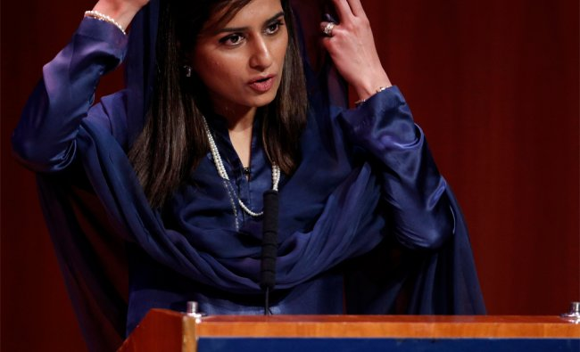 Pakistan\'s Foreign Minister Hina Rabbani Khar speaking at the Asia Society in New York ...