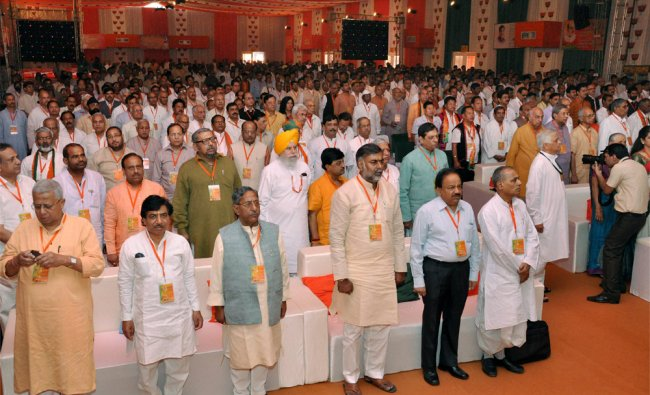 BJP leaders during the BJP National Council meeting at Surajkund, Faridabad on Thursday...