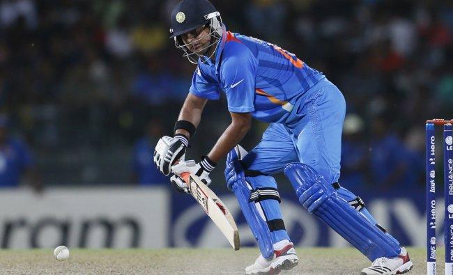 Suresh Raina bats during a ICC Twenty20 Cricket World Cup Super Eight match