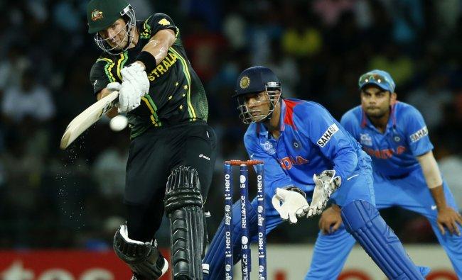 Shane Watson plays a shot against India