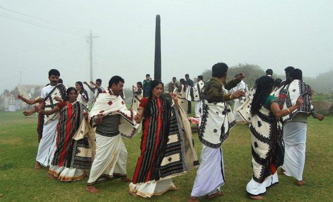 Toda tribles dancing for rain at Muthanadu Mund, Near Ooty, the Nilgiris on Sunday