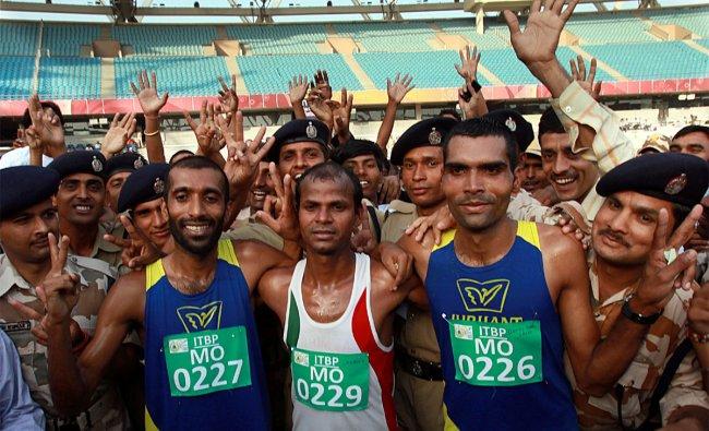 Winners Sandeep (C) Suji Mathew (L) and Ratiram Saini (R) of ITBP half marathon
