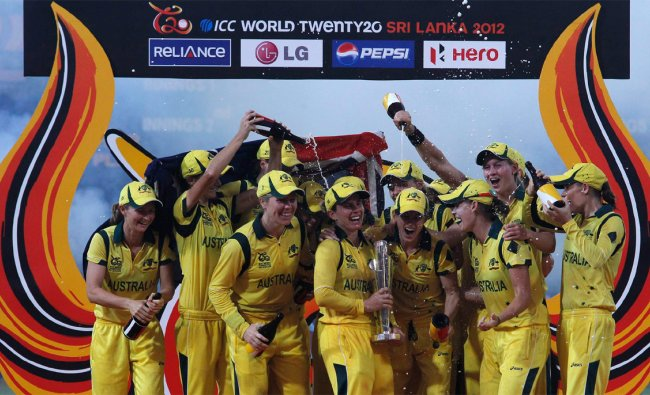 Australia\'s women cricket team celebrate with the trophy after they won the Twenty20 World Cup