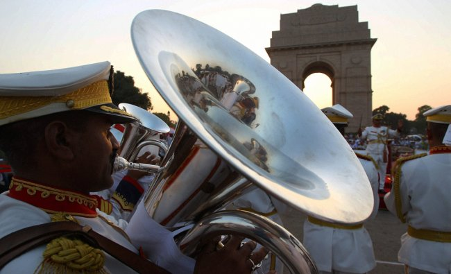 A member of Territorial Army\'s band performs at the India Gate in New Delhi